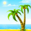 Vector summer beach with sea sun and palm tree - Stock Vector