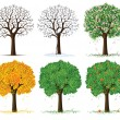 Vector silhouette of seasonal tree - Stock Vector