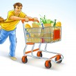 Running man with shopping cart full of products - Stock Vector