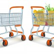 Full and empty shopping carts from supermarket store — Imagens vectoriais em stock