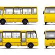 Yellow minibus vector draft template - Stock Vector