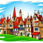 Old european town vector illustration — Stock Vector