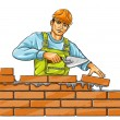 Builder man with derby tool building a brick wall - Stok Vektör
