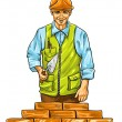 Builder man with derby tool building a wall — Imagen vectorial