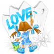Little cartoon girl with paint brush drawing love - Stock Vector