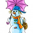 Vector winter snowman with pink umbrella — Stock Vector