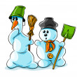 Surprised vector winter snowmen with cleaning tools — Stock Vector