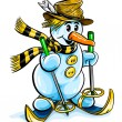 Vector winter snowman on skis - Stock Vector