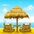 Two beach deck-chairs under wooden umbrella — Vector de stock