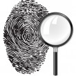 Black fingerprint and magnifying glass loupe — Векторная иллюстрация