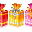 Set of packaged holiday gifts with bow — Imagen vectorial