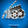 Cinema clapper and video film tape on disc - Stock Vector