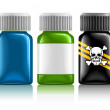 Stock Vector: Three medical bottles with medication and poison