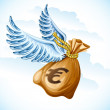 Royalty-Free Stock Vector Image: Flying sack of euro money with wings