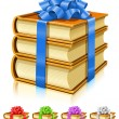 Gift of books with color ribbon and bow - Stock Vector