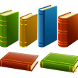 Stock Vector: Group of different books with empty cover