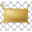 Stock Vector: Blank bronze metal plate on wire net