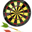 Darts with dart board game — 图库矢量图片