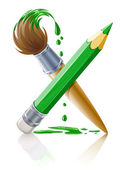 Green pencil and brush with paint — Stock Vector