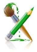 Lápiz verde y el pincel con pintura — Vector de stock