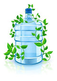 Big bottle with clean blue water drink and green foliage — Stock Vector