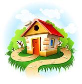 Fairy-tale house among trees — Stock Vector
