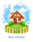 Fairy-tale house on lawn with fence — Vector de stock