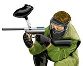 Vector paintball game player shooting — Stock Vector