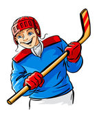 Vector boy character playing hockey sport game — Stock Vector