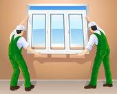 Dos trabajadores edición nueva ventana plástica — Vector de stock