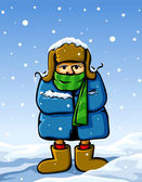 Vector dressed man in winter snow — Stock Vector