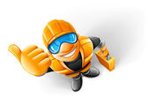 Metalworker in helmet with suitcase — Vector de stock