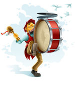 Happy street musician playing drum — Stockvector