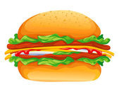 Hamburger rasterized vector illustration — Stock Vector