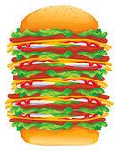 Hamburger big rasterized vector illustration — Stock Vector