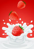 Red strawberry fruits falling into the milky splash — Stock Vector