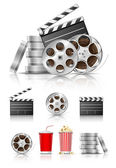 Set of objects for cinematography — 图库矢量图片