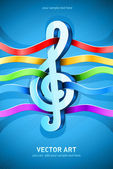 Treble clef musical symbol with ribbons — Wektor stockowy