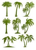 Satz von palm tree silhouetten — Stockvektor