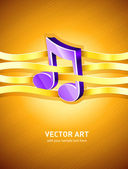 Note musical symbol interlaced by gold ribbon — Stock Vector