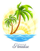 Tropical palm with sea wave on sunny background — Stock Vector