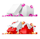 Open gift boxes with ribbon — Stock Vector