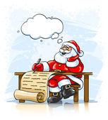 Santa Claus writing Christmas greeting letter — Stock Vector