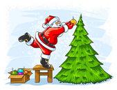 Cheerful Santa Claus decorating Christmas tree — Stock Vector