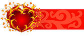 Red banner with burning heart — Stock Vector