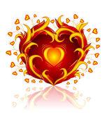 Love heart burning in blaze — Stock Vector