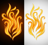 Hot yellow flame of burning fire — Stock Vector