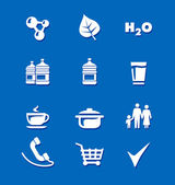 Icons food water family shopping — Stock Vector