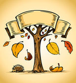 Vector autumn tree with yellow falling leaves — Stock Vector