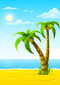 Vector summer beach with sea sun and palm tree — Stock Vector